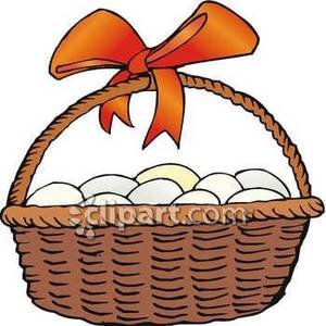 Basket of Eggs with an Orange Bow Royalty Free Clipart Picture image freeuse