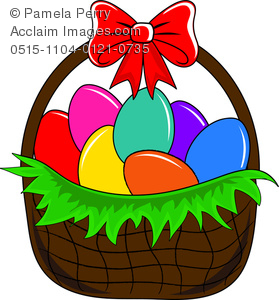 Clip Art Image of an Easter Basket Filled With Dyed Eggs - Acclaim ... graphic free stock