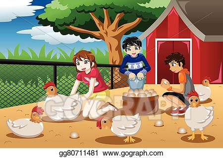 Egg people clipart jpg free download Vector Art - Children collecting eggs from the farm. EPS clipart ... jpg free download