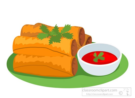 Egg roll clipart picture royalty free library Egg roll with red sauce food clipart » Clipart Portal picture royalty free library