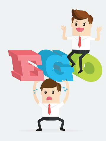 Ego clipart clip art library download Business Man Carrying Big Ego With Colleague Have NO Ego premium ... clip art library download