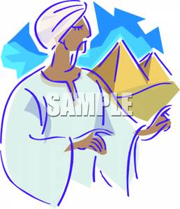 Egyptian man clipart graphic royalty free library An Egyptian Man Near Pyramids - Royalty Free Clipart Picture graphic royalty free library