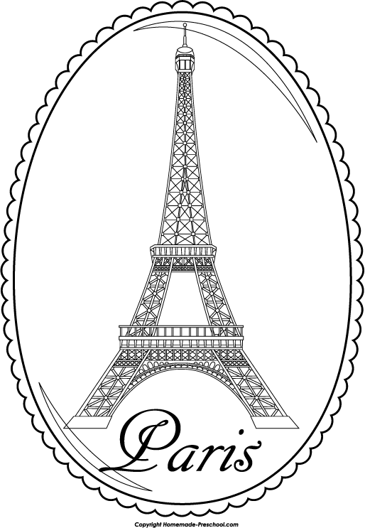Map of paris clipart black and white