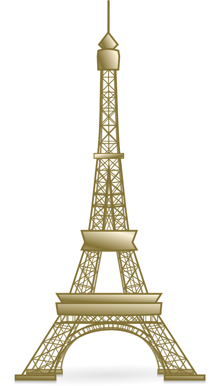 Eiffel tower with crown clipart