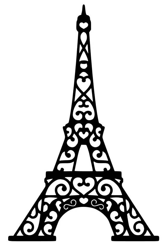 Eiffel tower silhouette clipart graphic black and white library Eiffel Tower Drawing 3d | Free download best Eiffel Tower Drawing 3d ... graphic black and white library