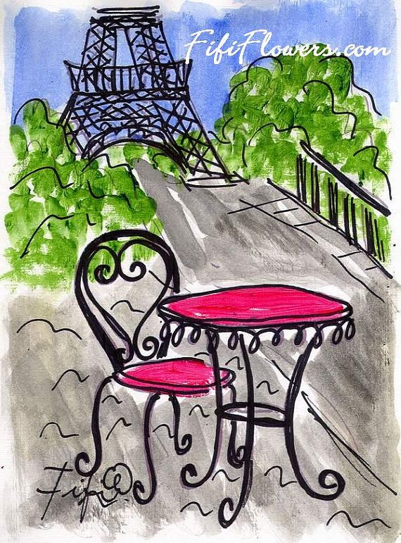 Eiffel tower with cafe in front clipart