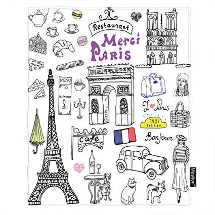 Eiffel tower with cafe in front clipart jpg freeuse stock Amazon.com: Moslion Paris Throw Blanket Eiffel Tower Cat French ... jpg freeuse stock