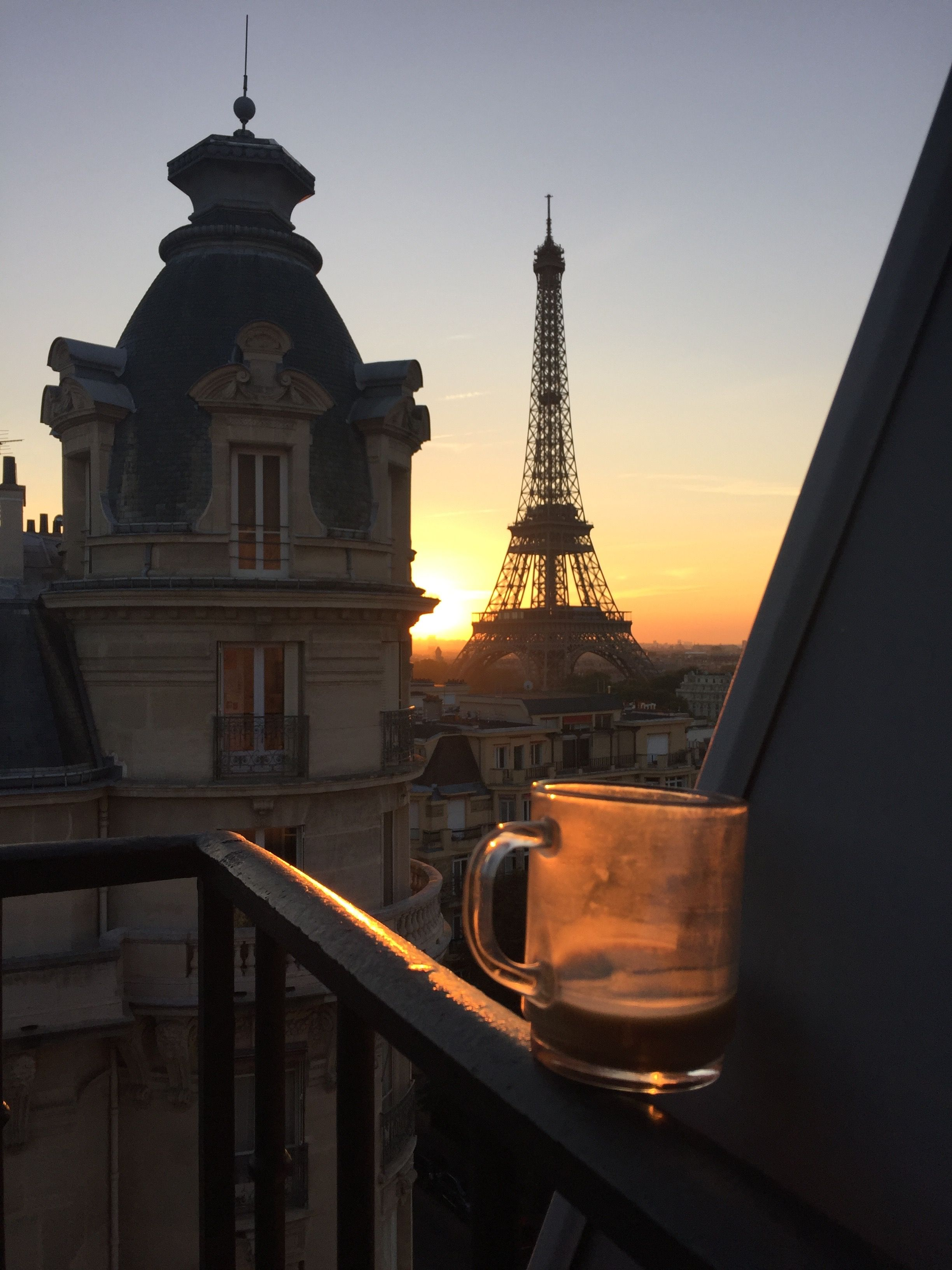 Eiffel tower with cafe in front clipart jpg royalty free library Room with a view! The sunrise seen through the Eiffel tower and a ... jpg royalty free library