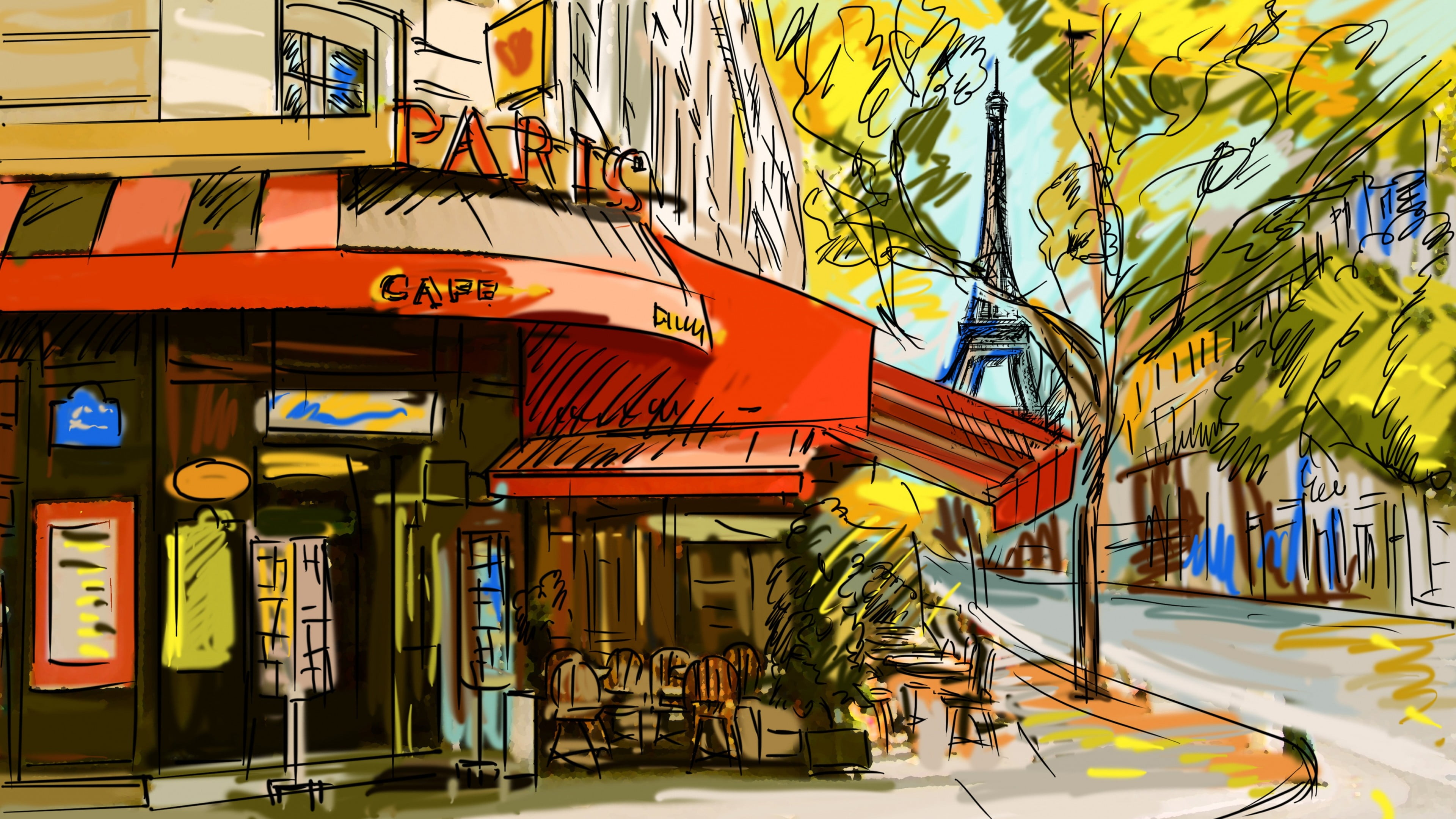 Eiffel tower with cafe in front clipart png library library Store front painting, sketches, cafes, Paris, Eiffel Tower HD ... png library library