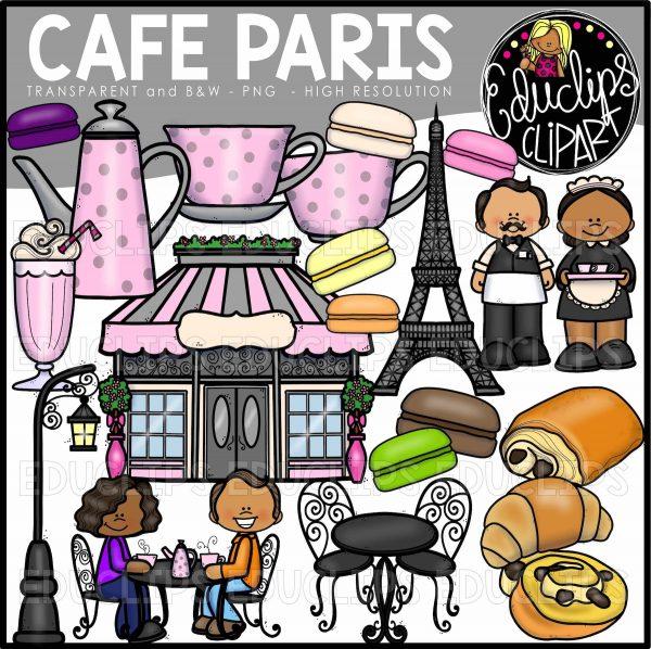 Eiffel tower with cafe in front clipart clip transparent download Cafe Paris Clip Art Bundle (Color and B&W) clip transparent download