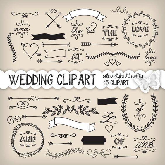 Einladung clipart schwarz wei svg free download Lorbeer-Clipart Hochzeit, Hochzeit Einladung, digital, Vintage ... svg free download