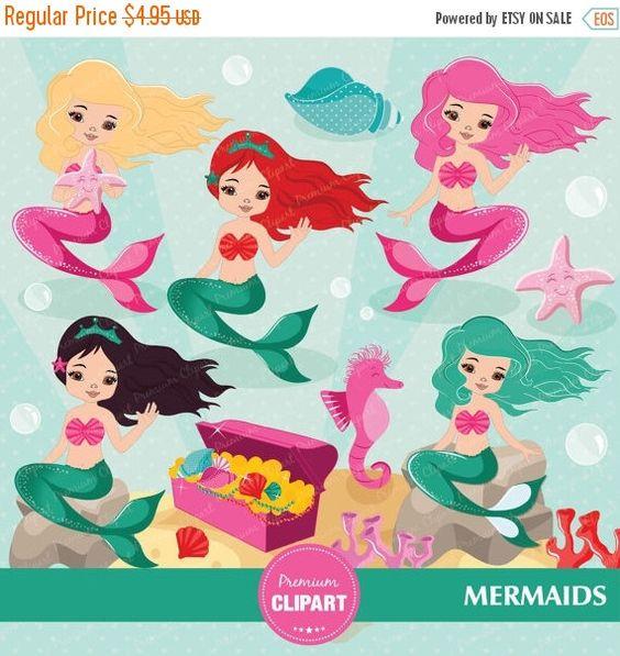 Einladung geburtstag clipart clip free stock Little mermaid clipart, princess mermaid clipart, under the sea ... clip free stock