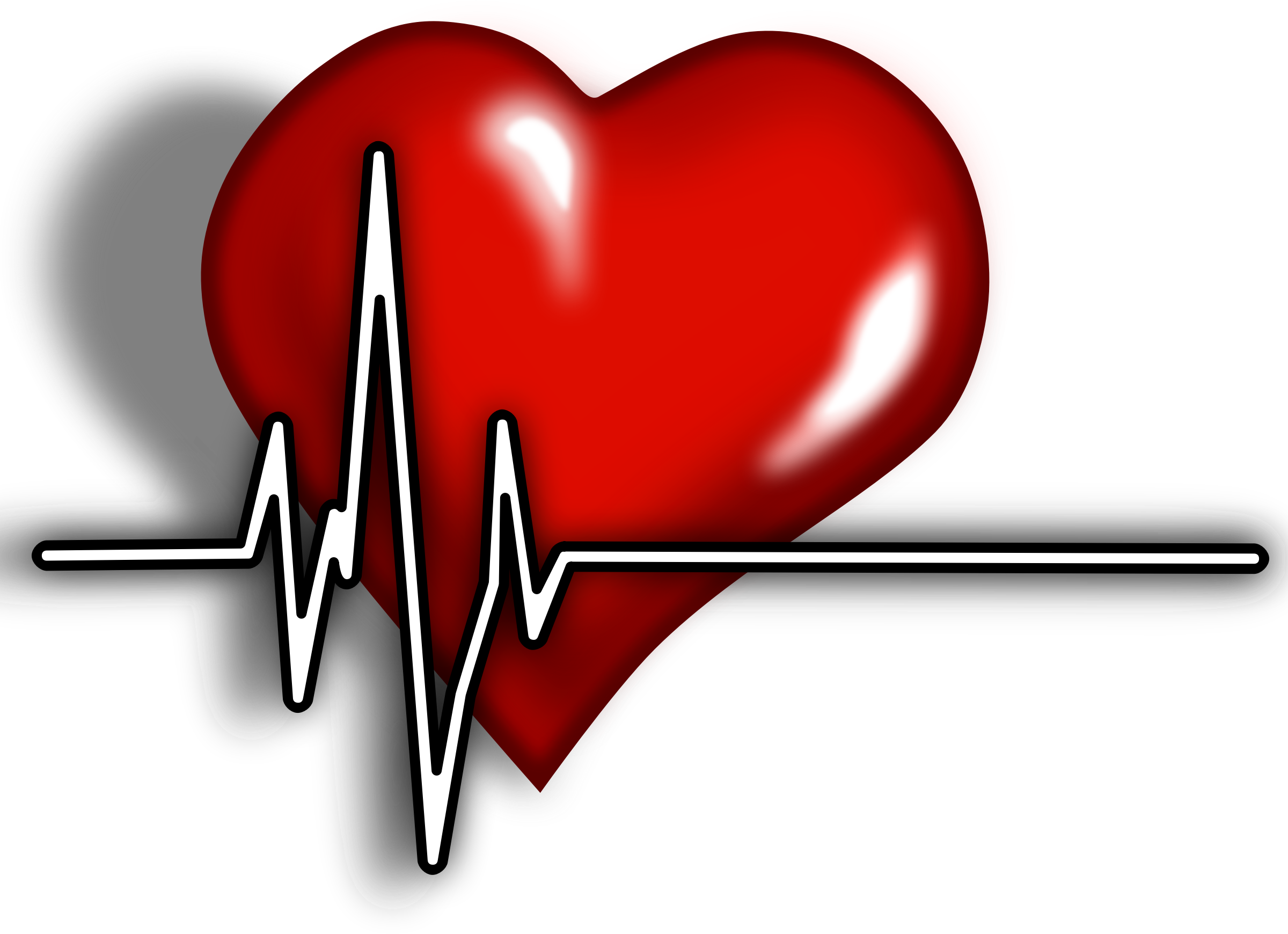 Heart with ekg line clipart black and white EKG Heart Clip Art free image black and white