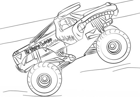 El toro loco clipart svg download El Toro Loco Monster Truck coloring page | Free Printable Coloring Pages svg download