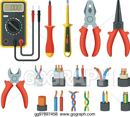 Electrical tools clipart banner free download Vector Art - Electrical cable wires and different electronic tools ... banner free download
