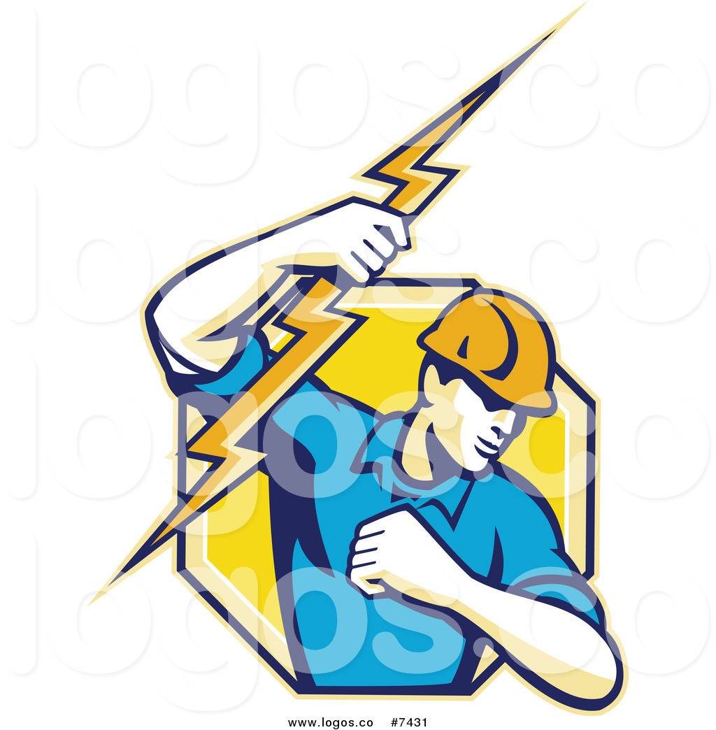 Electrician logo clipart clip art free download Royalty Free Clip Art Vector Logo of a Male Electrician Lineman ... clip art free download