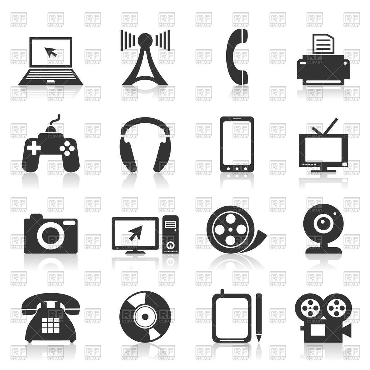 Electronics clipart free clip library library Set of electronics icons Vector Image #82703 – RFclipart clip library library