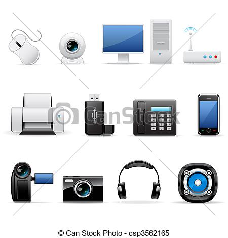Electronics clipart free clip library download Clipart Vector of Computers and electronics icons - Vector ... clip library download