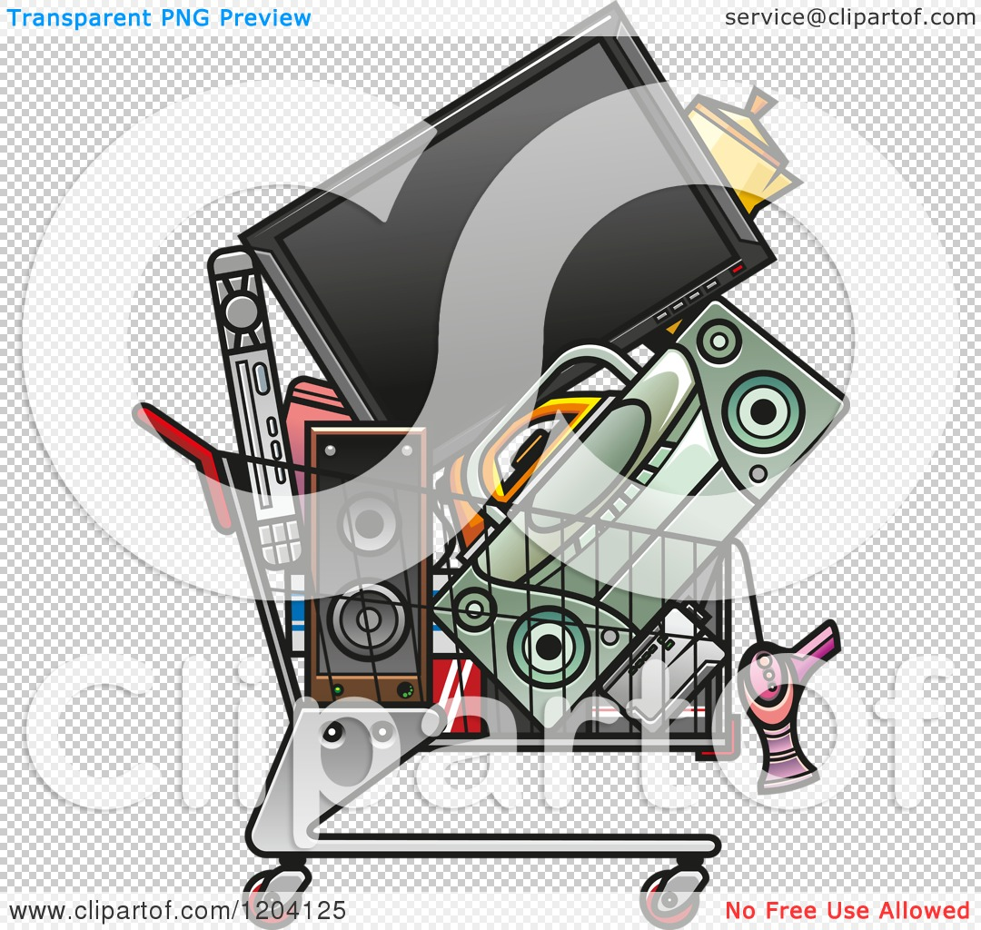 Electronics clipart free clip download Clipart of a Shopping Cart Full of Electronics - Royalty Free ... clip download