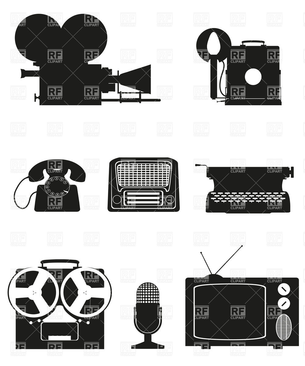 Electronics clipart free graphic free library Vintage electronics and old audio equipment black silhouette ... graphic free library