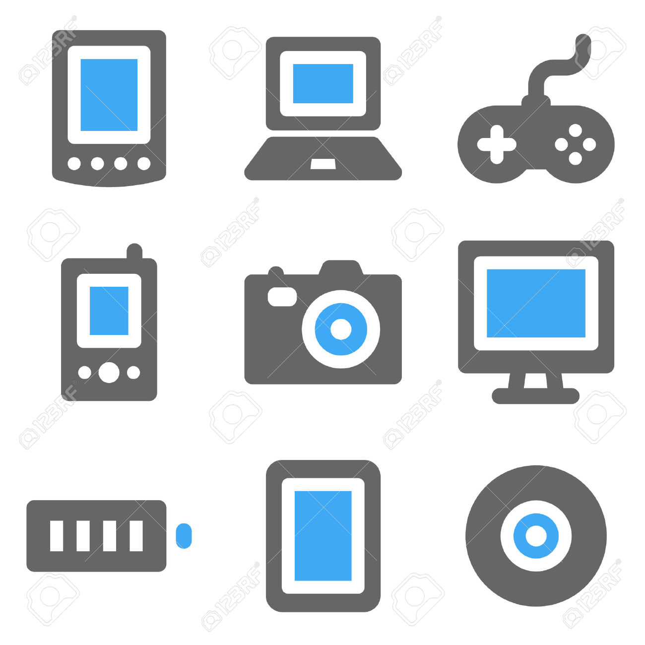 Electronics cliparts stock Electronics Web Icons, Blue And Grey Solid Icons Royalty Free ... stock