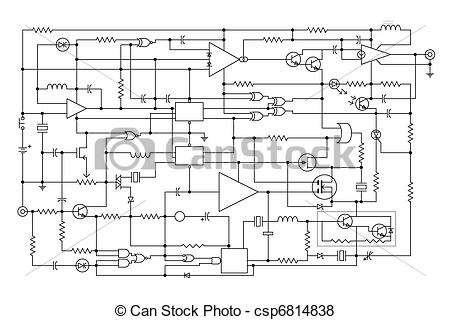 Electronics schematic clipart picture black and white stock Vector of electronic project - schematic diagram - project of ... picture black and white stock
