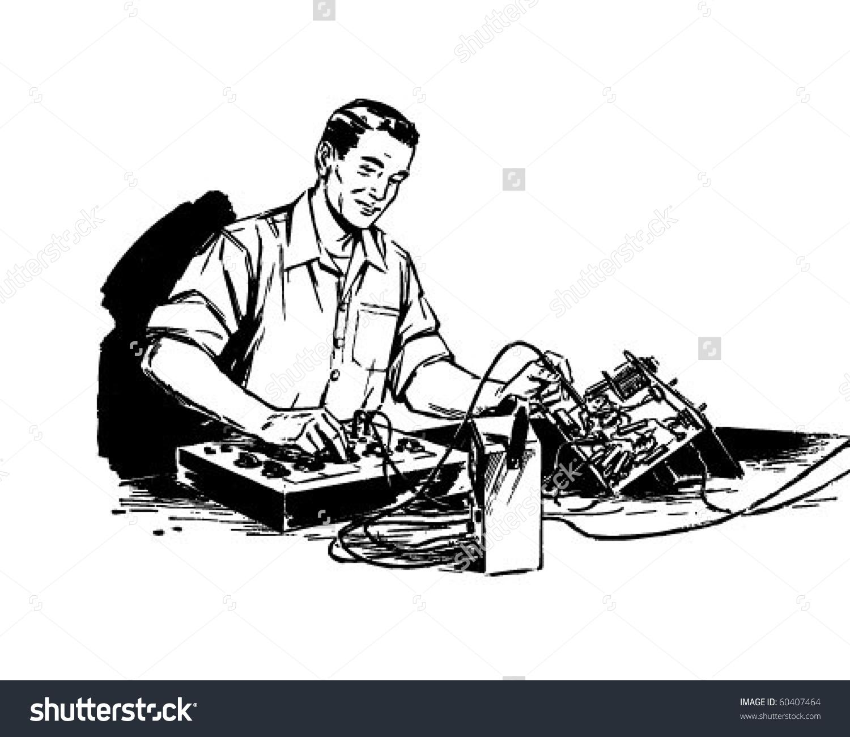 Electronics technician clipart transparent library Electronics Technician Retro Clip Art Stock Vector 60407464 ... transparent library