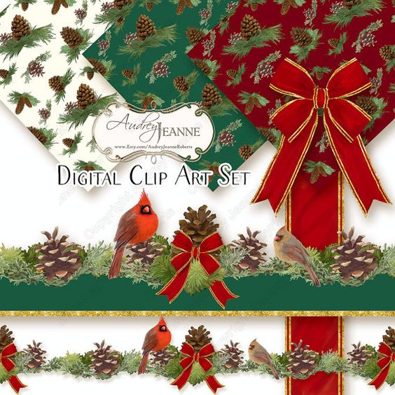 Elegant christmas bough clipart graphic library library Traditional, Crafting and Red green on Pinterest graphic library library