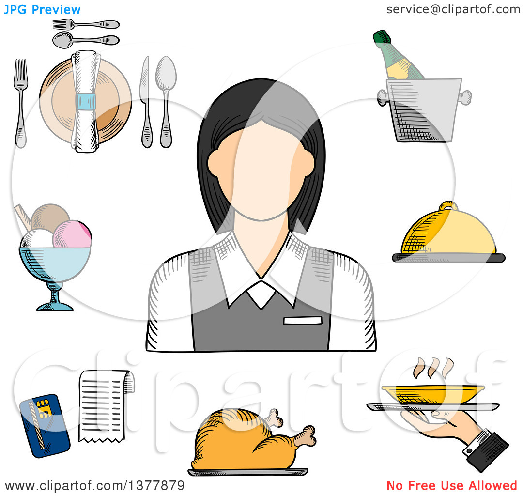 Elegant dinner clipart graphic transparent library Clipart of a Sketched Waitress in Elegant Uniform, Surrounded by ... graphic transparent library