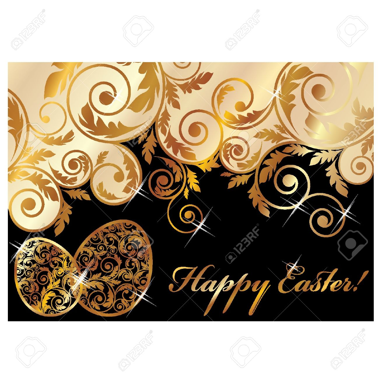 Elegant easter clipart png black and white stock Elegant Easter Banner, Vector Illustration Royalty Free Cliparts ... png black and white stock