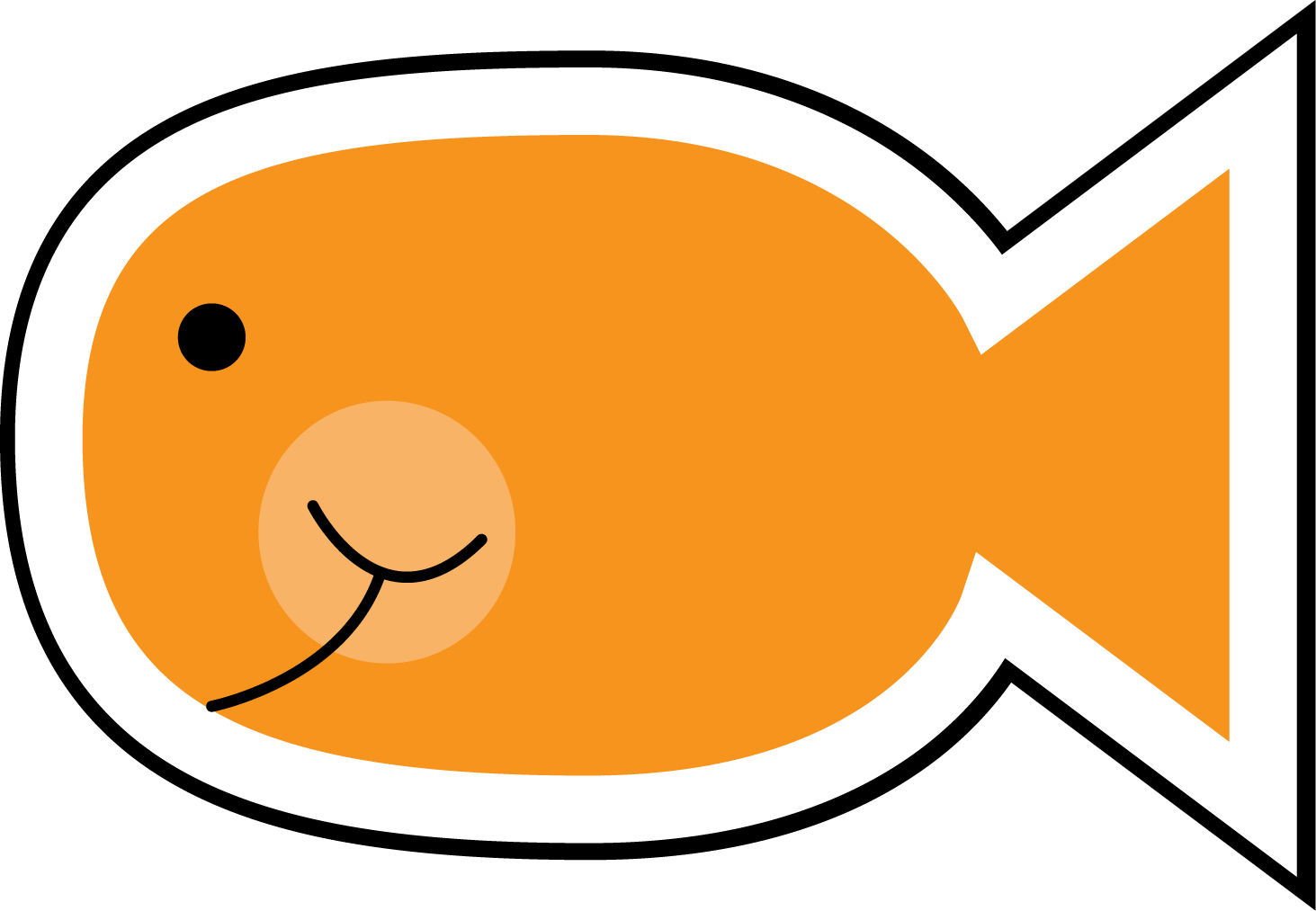 Elegant fish clipart. Of orange png black