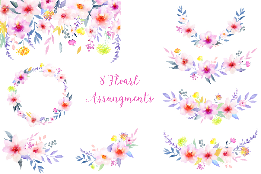 Elegant flower clipart image library Watercolor Flower Clipart Elegant by Cornercroft | TheHungryJPEG.com image library
