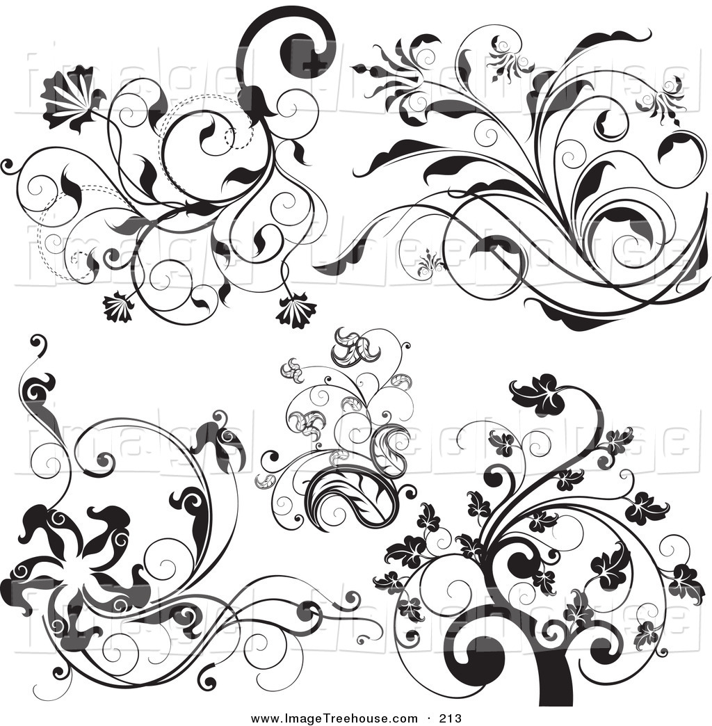 Elegant black and white flower clipart - ClipartFest black and white