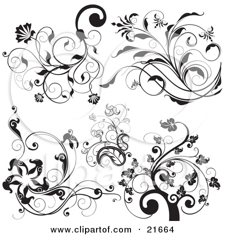 Clipart Picture Illustration of a Collection Of Botanical ... picture stock