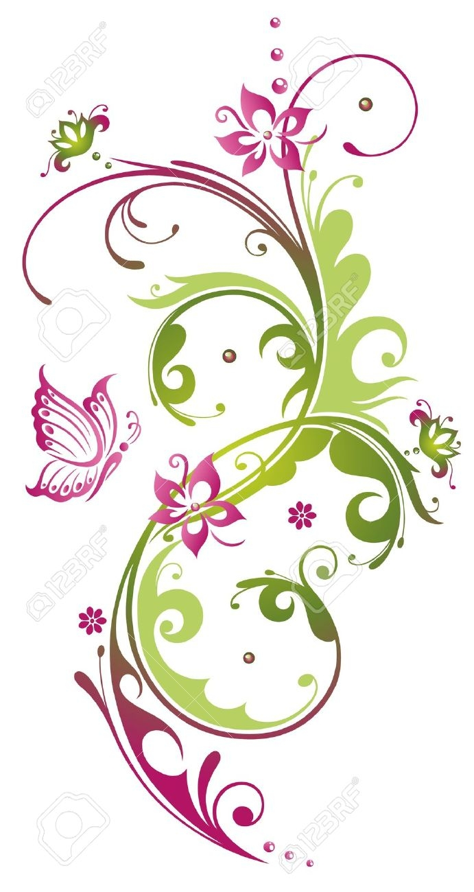 Elegant purple and green flower clipart - ClipartFest graphic free stock