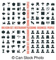 Clip Art Vector of big food icon set - Elegant Food Icons Set ... graphic black and white stock
