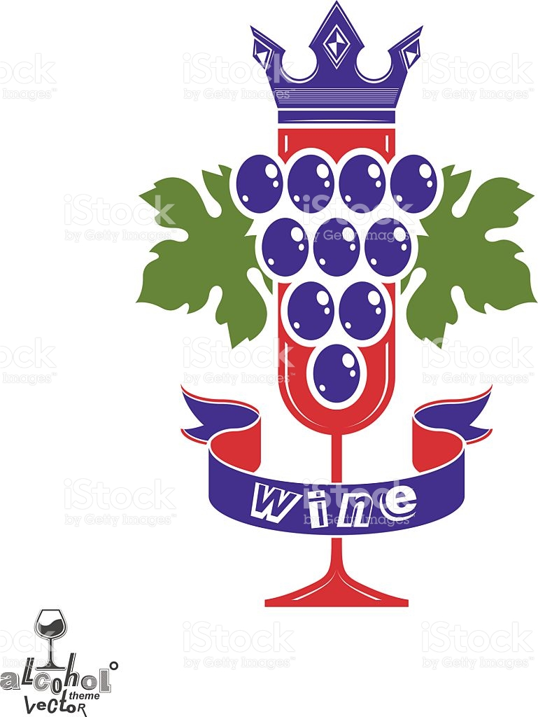 Elegant food wine clipart jpg library Elegant Glass Of Wine With Grapes Cluster Decorative Ribbon stock ... jpg library