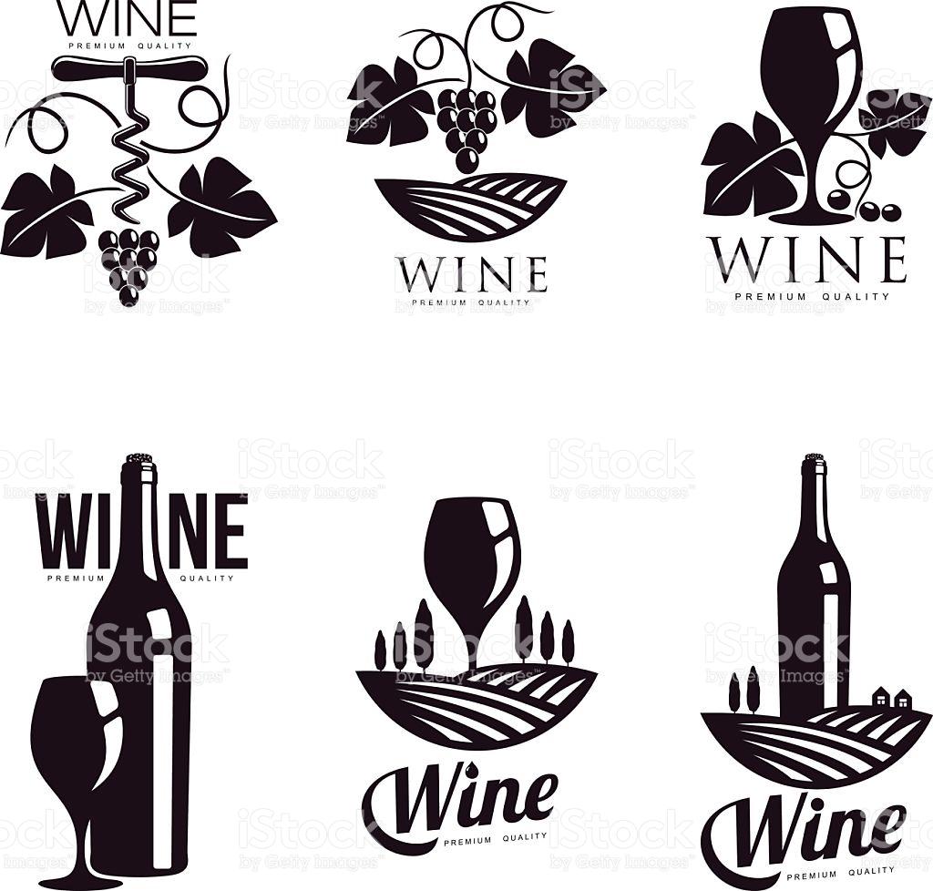 Elegant food wine clipart picture black and white stock Set Of Elegant Wine Logo Templates stock vector art 545274748 | iStock picture black and white stock