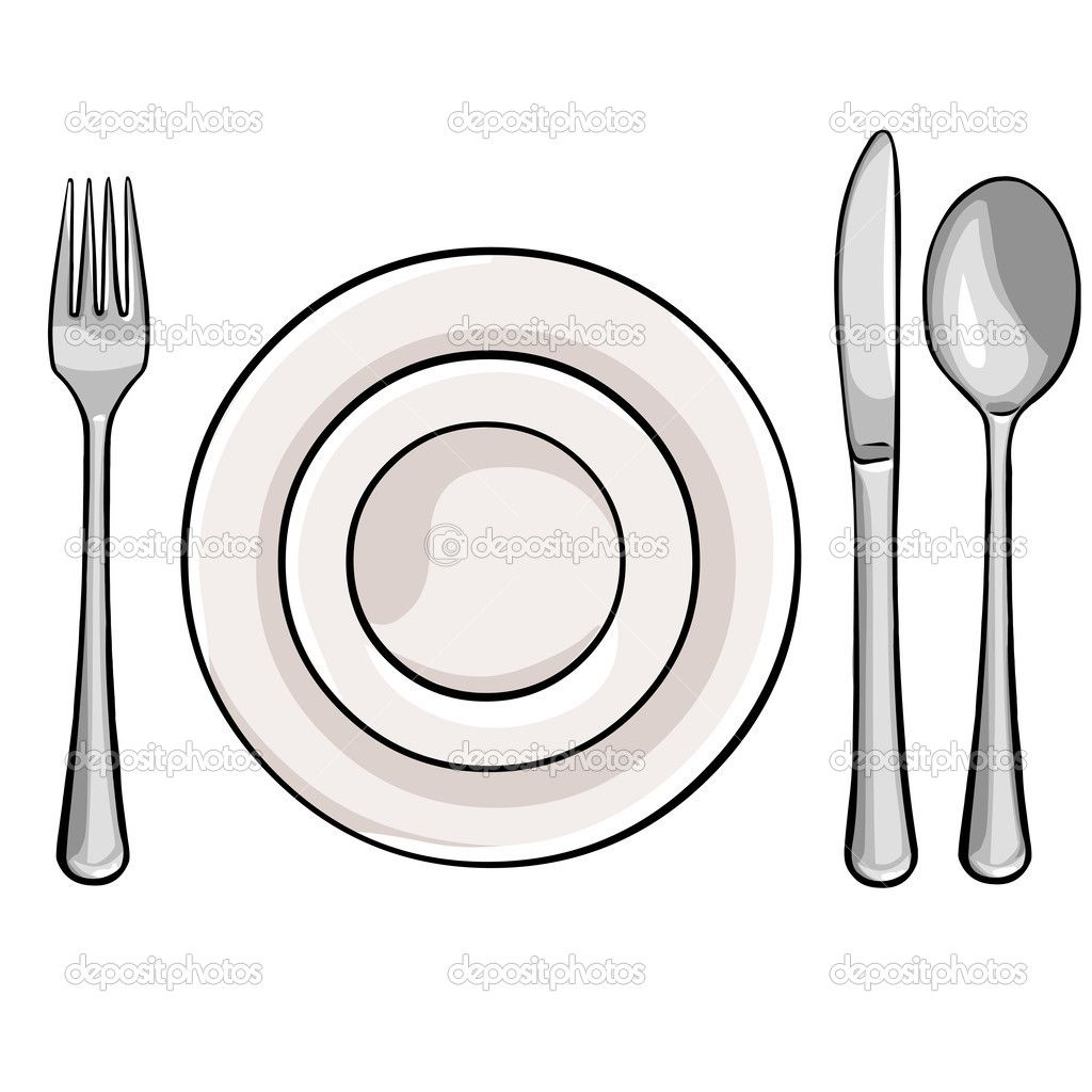 White knife spoon plate clipart jpg royalty free stock The Plate On a Plate with Fork and Spoon Cute | Vector cutlery: fork ... jpg royalty free stock