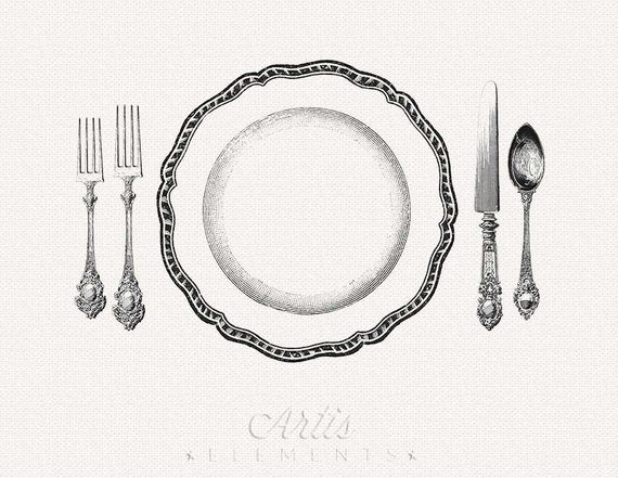 Vintage dinner clipart image library library Printable Place Setting Dinner Plate, Knife, Fork, Spoon - Vintage ... image library library