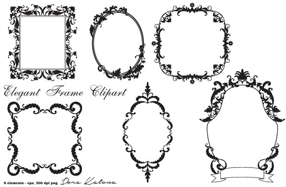 Elegant frame clip art clipart black and white Elegant Frame Clipart -vector EPS ~ Illustrations on Creative Market clipart black and white