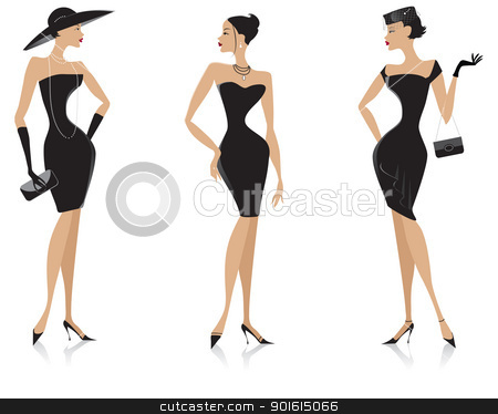 Elegant girl clipart svg royalty free Black dress stock vector svg royalty free