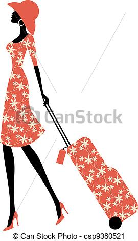 Elegant girl clipart clipart Vector Clip Art of Elegant Traveller - Illustration of a young ... clipart