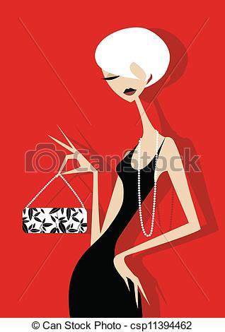 Elegant girl clipart image black and white download Clip Art Vector of Elegant Woman - Stylish Girl with string of ... image black and white download