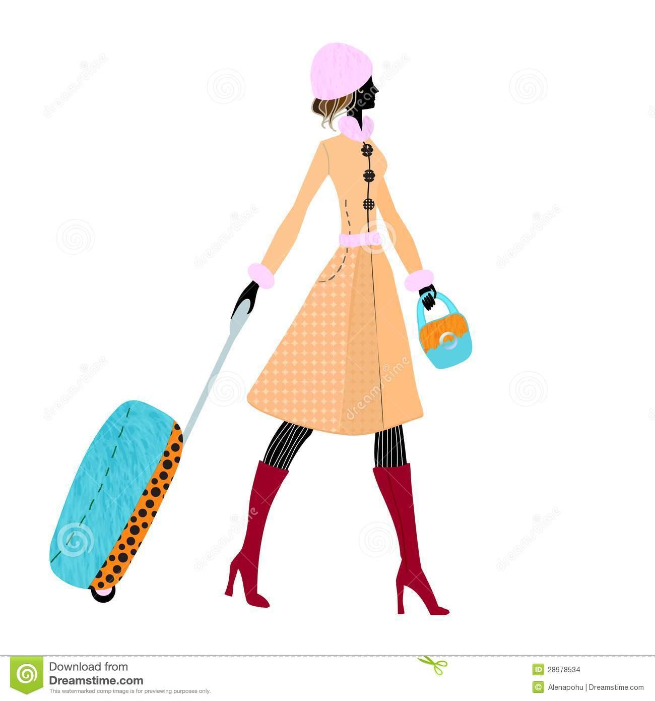 Elegant girl clipart black and white library Girl With Luggage Clipart black and white library
