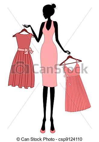 Elegant girl clipart graphic library library Vector Clipart of Shopping for a Dress - Illustration of a young ... graphic library library