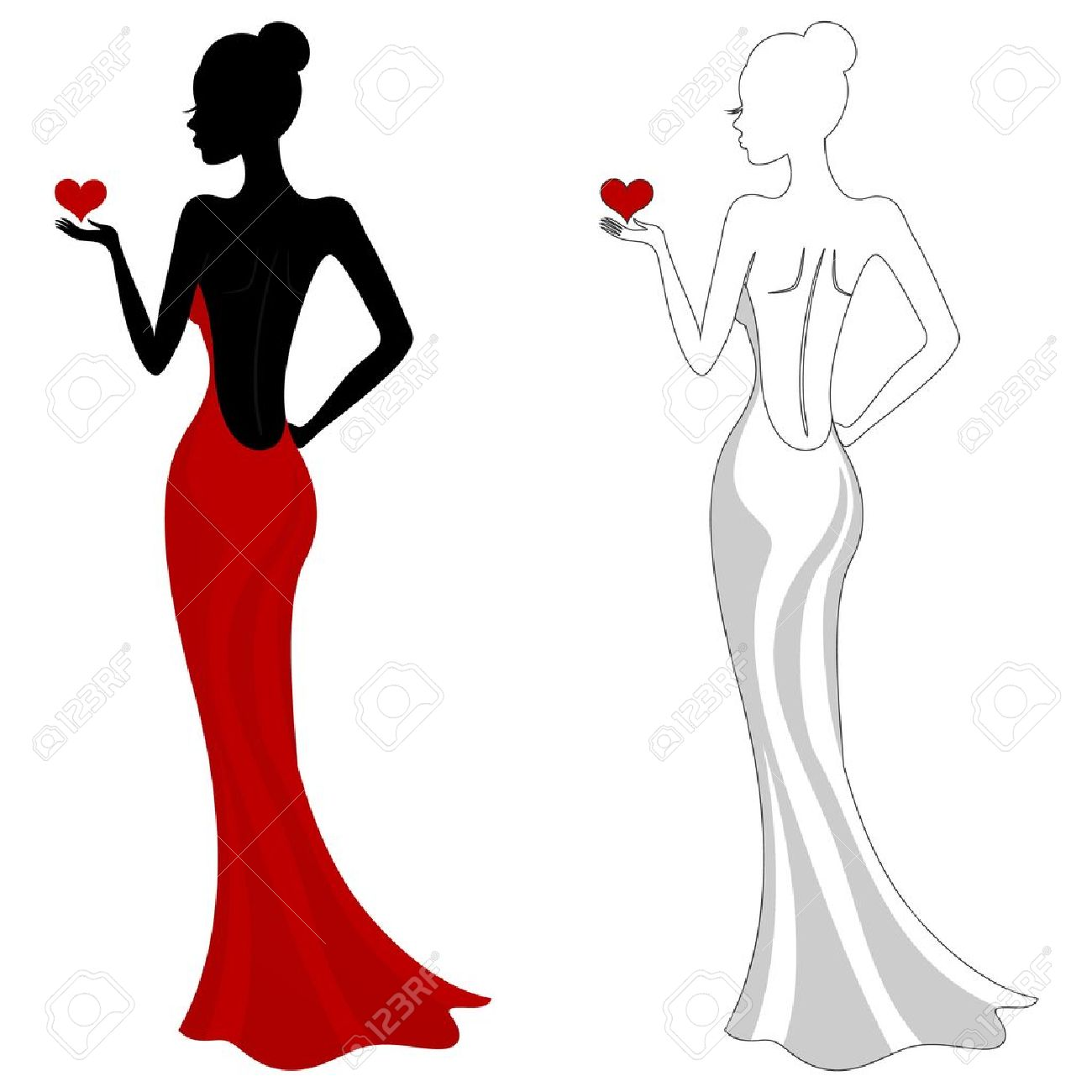 Free clipart elegant girl in a red dress - ClipartFox banner library library