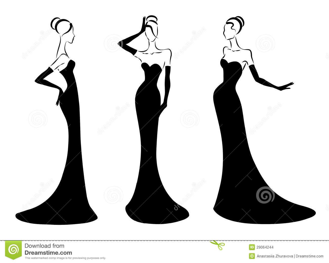 Elegant girl clipart - ClipartFest black and white library