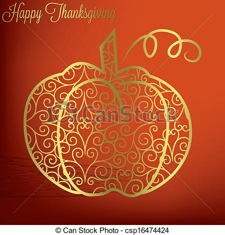 Elegant pumpkin clipart vector transparent stock Vector Clip Art of Happy Thanksgiving - Leaf elegant Thanksgiving ... vector transparent stock