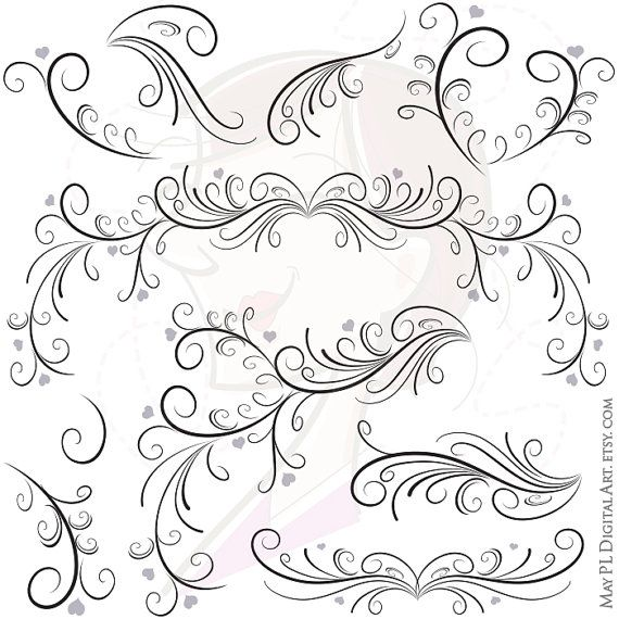Elegant wedding clipart svg transparent download Swirl Border Png Vector Clipart - easily insert these Digital ... svg transparent download